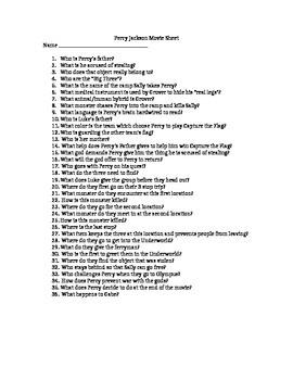 Percy Jackson Movie #1 Worksheet