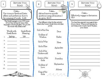 Percy Jackson Novel Study Foldable