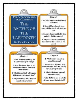 Percy Jackson THE BATTLE OF THE LABYRINTH by Rick Riordan- Discussion Cards