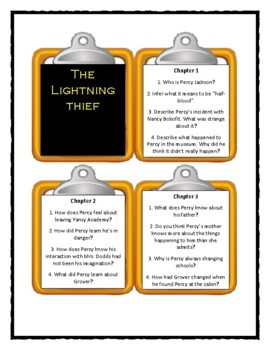 Percy Jackson THE LIGHTNING THIEF by Rick Riordan  - Discussion Cards