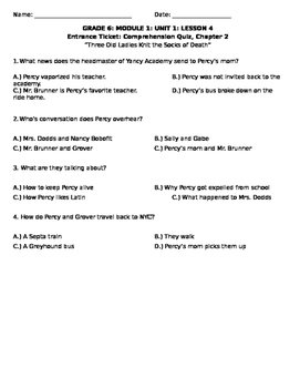 Percy Jackson: The Lightning Thief Chapter 2 Quiz