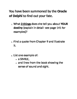 Percy Jackson- The Lightning Thief - Chapter 9 Activity