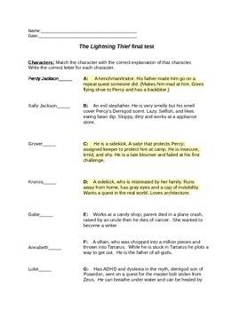 Percy Jackson  The Lightning Thief-End of novel comprehens