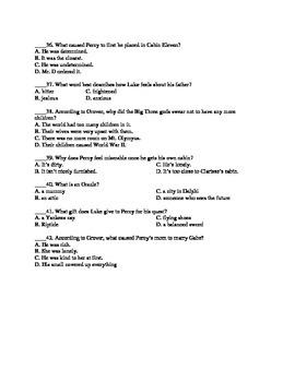 Percy Jackson: The Lightning Thief Exam