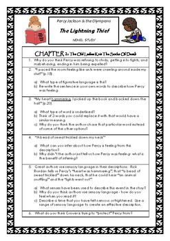 Percy Jackson & The Lightning Thief ~ Higher Order Thinking NOVEL STUDY