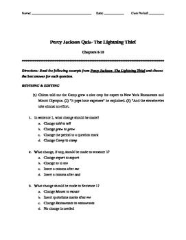 Percy Jackson - The Lightning Thief Quiz - Chap. 6-10