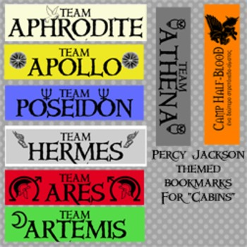 Percy Jackson and The Lightning Thief Cabin Bookmarks