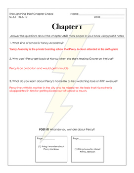 Percy Jackson and The Lightning Thief Chapter Check Questions