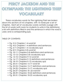percy jackson and the olympians the lightning thief vocabulary tpt