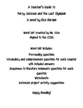 Percy Jackson and the Last Olympian Novel Unit