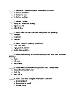 percy jackson and the lightning thief 50 question mc test with bonus