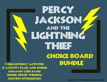 Percy Jackson and the Lightning Thief CHOICE BOARD BUNDLE No Prep Menu