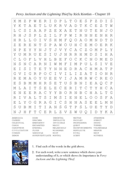 Percy Jackson and the Lightning Thief - Chapter 10 Giant Word Search Puzzle