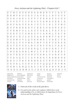 Percy Jackson and the Lightning Thief - Chapters 6 - 7 Word Search