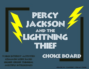 Percy Jackson and the Lightning Thief Choice Board Tic Tac Toe Novel Activities