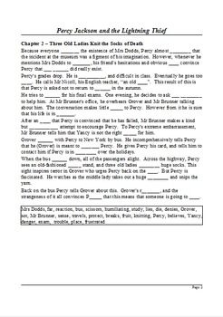 Percy Jackson and the Lightning Thief - Summary as Cloze Test