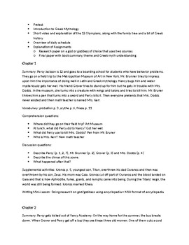 Percy Jackson and the Lightning Thief Unit Plan