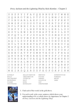 Percy Jackson and the Lightning Thief - Word Search Chapter 2