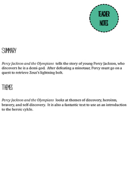 Percy Jackson and the Olympians: The Lightning Thief by Riordan Discussion Guide