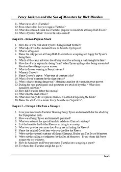 Percy Jackson and the Sea of Monsters - Detailed Reading Questions with Answers