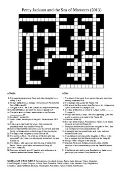 Percy Jackson and the Sea of Monsters Movie - Crossword Puzzle