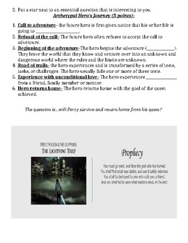 Percy Jackson guided notes/questions  (go along with PowerPoint)