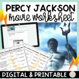 Percy Jackson and the Lightning Thief Movie Worksheet Digital and PDF