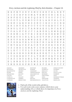 Percy Jackson and the Lightning Thief - Chapter 16 Giant Word Search Puzzle