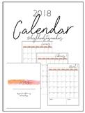Perfect 2018 Calendar- Editable