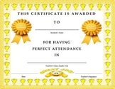 Perfect Attendance Award Certificate- Elementary, MS-HS Versions
