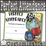 Perfect Attendance Awards- Editable!