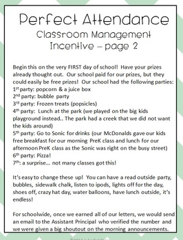 Perfect Attendance CHEVRON Classroom Management System Incentive