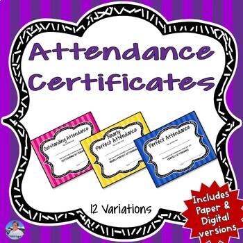 Attendance Certificates