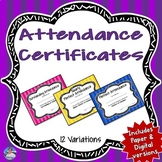 Attendance Award Certificates | Semi-Editable | Digital an