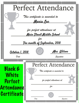 Perfect Attendance Certificate Editable Teaching Resources
