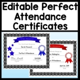 Perfect Attendance Certificates that are Editable! {4 Different Colors}