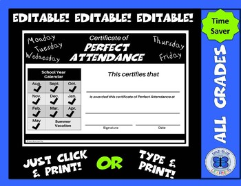 Perfect Attendance Certificate - Aug. to May - Editable