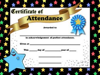 Perfect Attendance Certificates - Awards - Stars Theme - King Virtue