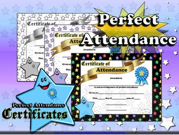 Perfect Attendance Certificates - Awards - Stars Theme - K