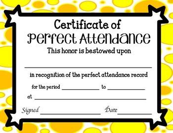 Perfect Attendance Certificates FREEBIE