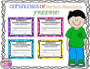 Perfect Attendance Certificates FREEBIE