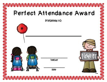 Perfect Attendance Monthly Awards