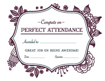 Perfect Attendance Reward Certificate 2 Tpt