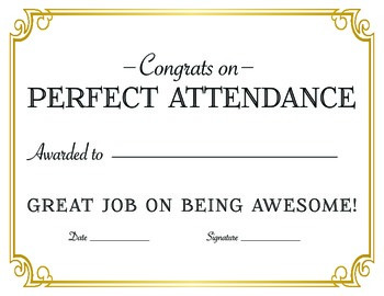 Perfect Attendance Reward Certificate