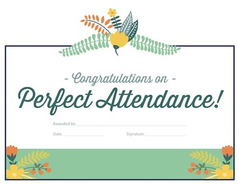 Perfect Attendance Reward Certificate 3