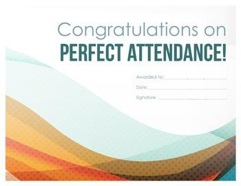 Perfect Attendance Reward Certificate 4