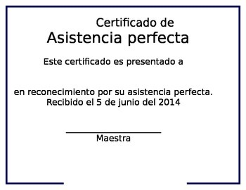 Perfect Attendance certificate (Spanish)