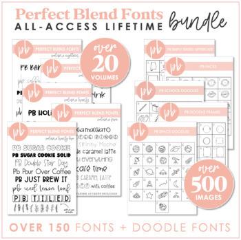 perfect blend fonts bundle by a perfect blend tpt