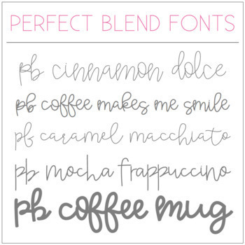 perfect blend fonts volume by a perfect blend