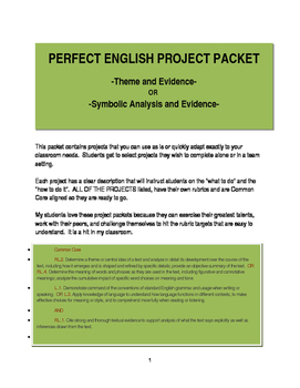 Perfect English Projects Packet with rubrics and Common Core Alignment